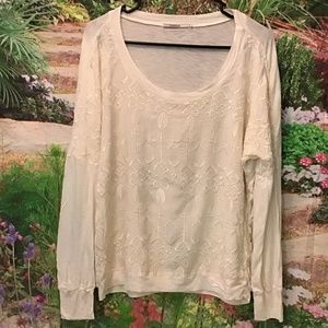 Language Anthropologie embroidered boho blouse M
